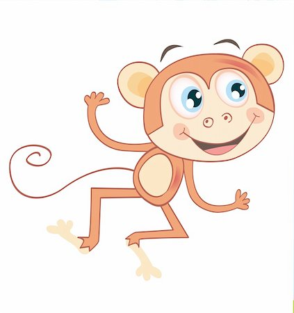 smiling chimpanzee - Funny jumping animal. Vector Illustration. See similar pictures in my portfolio! Stock Photo - Budget Royalty-Free & Subscription, Code: 400-04114519