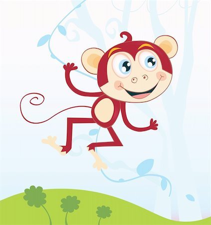 smiling chimpanzee - Funny animal jumping in jungle. Vector Illustration. See similar pictures in my portfolio! Stock Photo - Budget Royalty-Free & Subscription, Code: 400-04114513
