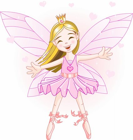 flying heart girl - Cute pink fairy ballerina flying Stock Photo - Budget Royalty-Free & Subscription, Code: 400-04115375