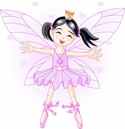 flying heart girl - Cute violet fairy ballerina flying Stock Photo - Budget Royalty-Free & Subscription, Code: 400-04115376