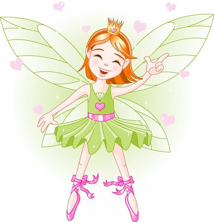 flying heart girl - Cute green fairy ballerina flying Stock Photo - Budget Royalty-Free & Subscription, Code: 400-04115404