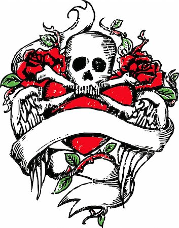 Skull rock tattoo emblem Stock Photo - Budget Royalty-Free & Subscription, Code: 400-04118873