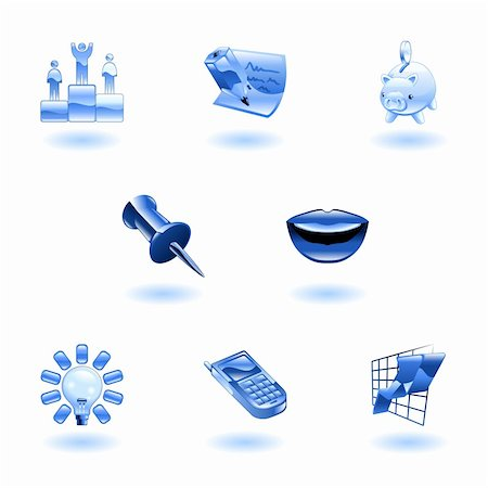 A set of glossy business and office icons Stock Photo - Budget Royalty-Free & Subscription, Code: 400-04111476