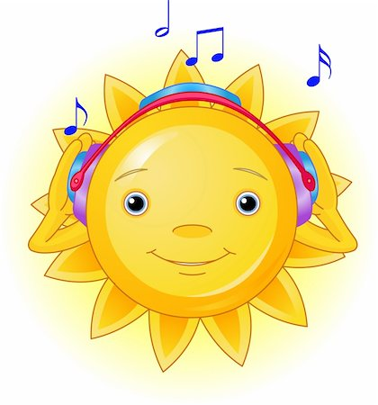 Cartoon Character  of Cute Summer Sun listening to music Stock Photo - Budget Royalty-Free & Subscription, Code: 400-04112164
