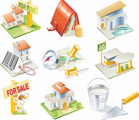 rural gas station - Real estate related detailed icon set Stock Photo - Budget Royalty-Free & Subscription, Code: 400-04112840