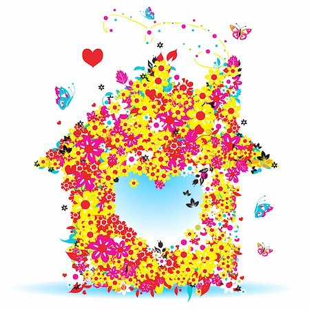 Floral house, vector illustration for your design Stock Photo - Budget Royalty-Free & Subscription, Code: 400-04113447
