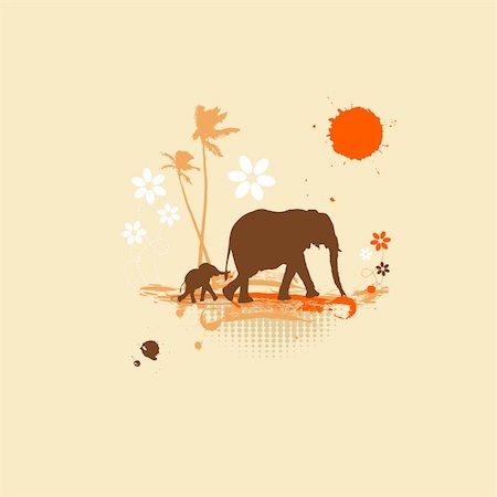 Family of elephants, summer illustration Stock Photo - Budget Royalty-Free & Subscription, Code: 400-04113460