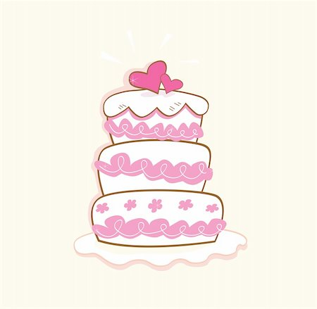 Pink decorative sweet cake. May be used on wedding, birthday, party or valentines occasion. Art vector illustration. Stock Photo - Budget Royalty-Free & Subscription, Code: 400-04113743