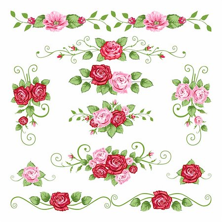 decoration wedding rose vintage - Collection in the victorian style with roses. Elements for your design. Stock Photo - Budget Royalty-Free & Subscription, Code: 400-04124265