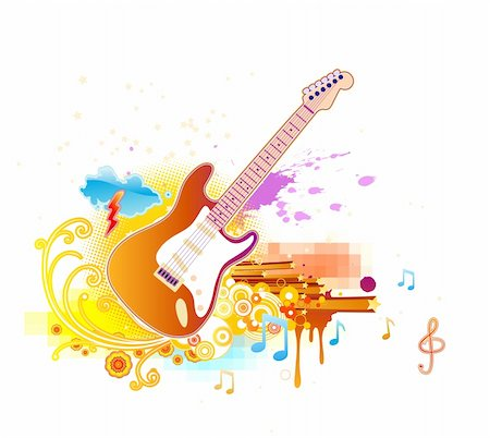 Vector illustration of shiny abstract party design with guitar Stock Photo - Budget Royalty-Free & Subscription, Code: 400-04125444