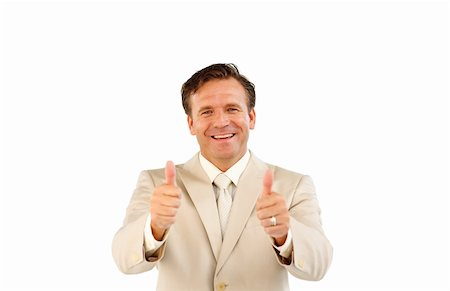 Confident business manager smiling at the camera with thumbs up Stock Photo - Budget Royalty-Free & Subscription, Code: 400-04125840