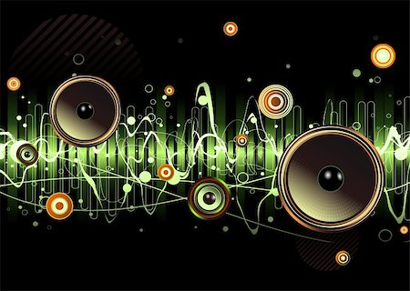 Vector illustration of green abstract party design with urban music scene - Speakers and sound waves Stock Photo - Budget Royalty-Free & Subscription, Code: 400-04126000
