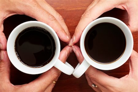 spanishalex (artist) - Couple holding coffee cups with heart shaped fingers Stock Photo - Budget Royalty-Free & Subscription, Code: 400-04126167