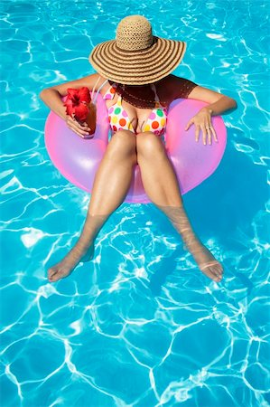 spanishalex (artist) - Women with Hat in Pool Stock Photo - Budget Royalty-Free & Subscription, Code: 400-04126673