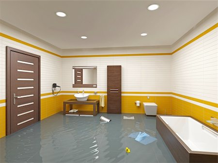 flooded homes - flooding bathroom interior ( 3D rendering ) Stock Photo - Budget Royalty-Free & Subscription, Code: 400-04126821