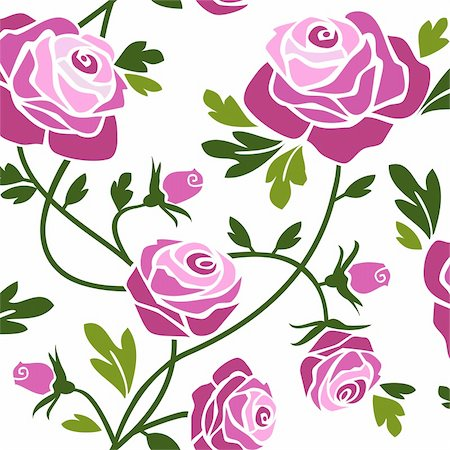 Romantic pink roses seamless pattern tile. Stock Photo - Budget Royalty-Free & Subscription, Code: 400-04126965