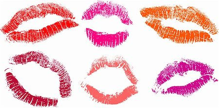 vector set of Red lipstick marks Stock Photo - Budget Royalty-Free & Subscription, Code: 400-04127635