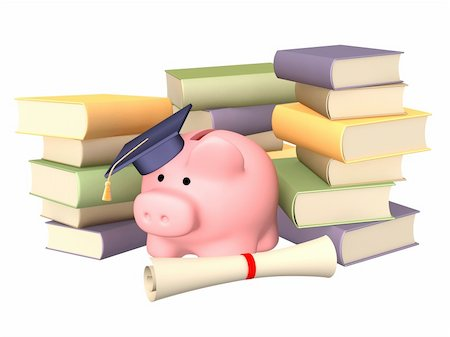 education loan - Piggy bank with cap and books. Objects over white Stock Photo - Budget Royalty-Free & Subscription, Code: 400-04128513