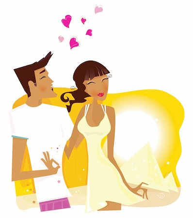 flying heart girl - Romantic desert travel. Young loving couple on honeymoon in Egypt. Vector Illustration. Stock Photo - Budget Royalty-Free & Subscription, Code: 400-04121488