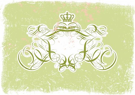 Vector illustration of Grunge background with heraldic titling frame, blank so you can add your own images Stock Photo - Budget Royalty-Free & Subscription, Code: 400-04122358