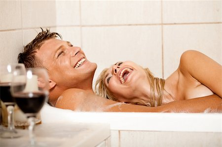 Happy couple bathing Stock Photo - Budget Royalty-Free & Subscription, Code: 400-04122795
