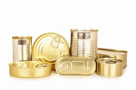 Assortment of golden food tin can reflected on white background Stock Photo - Budget Royalty-Free & Subscription, Code: 400-04122858
