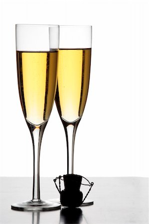 spanishalex (artist) - Two champagne glasses and a cork in silhouette Stock Photo - Budget Royalty-Free & Subscription, Code: 400-04123364