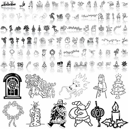 Christmas set of black sketch. Part 7. Isolated groups and layers. Stock Photo - Budget Royalty-Free & Subscription, Code: 400-04135068