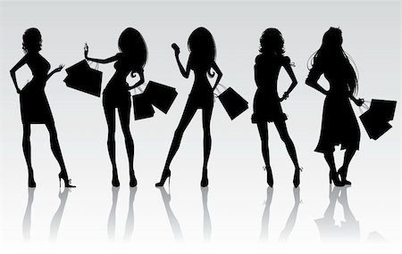 Shopping girls, vector Stock Photo - Budget Royalty-Free & Subscription, Code: 400-04135678