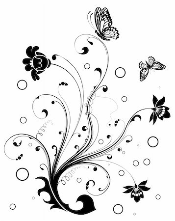 Floral Ornament with butterfly, element for design, vector illustration Stock Photo - Budget Royalty-Free & Subscription, Code: 400-04136283