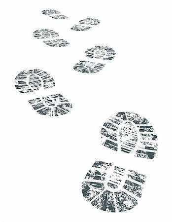 detailed black and white bootprint - vector illustration Stock Photo - Budget Royalty-Free & Subscription, Code: 400-04136614