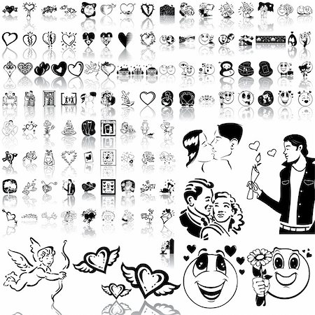 Valentinday set of black sketch. Part 7. Isolated groups and layers. Stock Photo - Budget Royalty-Free & Subscription, Code: 400-04136726