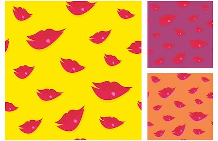 Perfect collection of seamless lips background. Artistic vector Illustration. Stock Photo - Budget Royalty-Free & Subscription, Code: 400-04139157