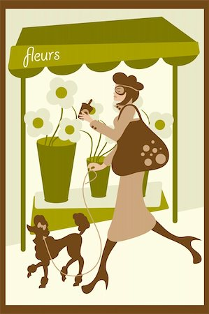 florist vector - A vector illustration of a French lady shopping and drinking coffee while walking her dog.  Eps file is compatible with older versions of Illustrator.   Text is expanded, no fonts needed. Stock Photo - Budget Royalty-Free & Subscription, Code: 400-04130163