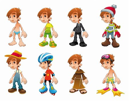 Dress and workers, funny cartoon and vector characters Stock Photo - Budget Royalty-Free & Subscription, Code: 400-04131073