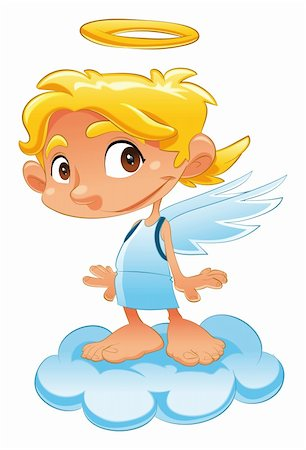Baby Angel, funny cartoon and vector character Stock Photo - Budget Royalty-Free & Subscription, Code: 400-04131093