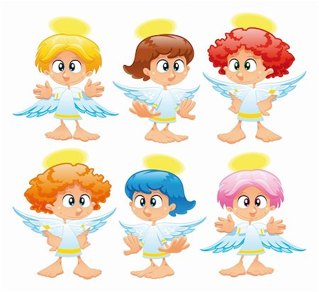 Family of angels. Funny vector and cartoon characters Stock Photo - Budget Royalty-Free & Subscription, Code: 400-04131115