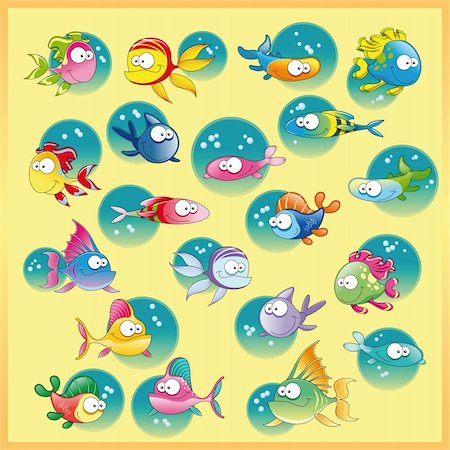 piranha fish - Family of fish with background. Funny cartoon and vector illustration Stock Photo - Budget Royalty-Free & Subscription, Code: 400-04131119
