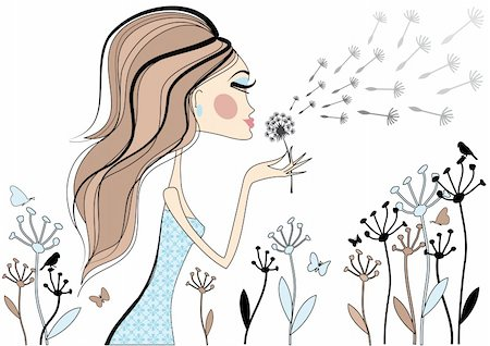 Woman with dandelion flower, vector Stock Photo - Budget Royalty-Free & Subscription, Code: 400-04131326
