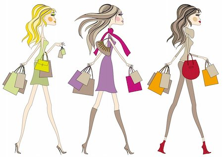 Fashion girls walking with shopping bags, vector Stock Photo - Budget Royalty-Free & Subscription, Code: 400-04131327