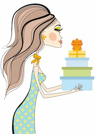 Fashion girl holding gift boxes, vector Stock Photo - Budget Royalty-Free & Subscription, Code: 400-04131328