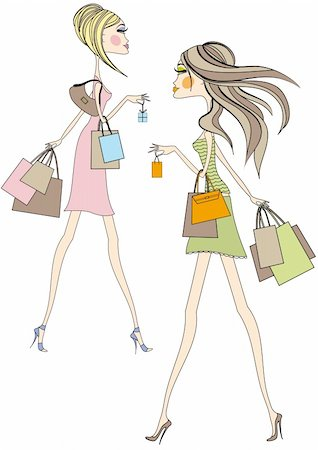 Fashion girls walking with shopping bags, vector Stock Photo - Budget Royalty-Free & Subscription, Code: 400-04131329