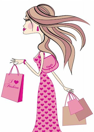 fashion girl with shopping bags, vector Stock Photo - Budget Royalty-Free & Subscription, Code: 400-04131331