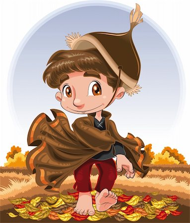 Autumn Character, cartoon and vector character Stock Photo - Budget Royalty-Free & Subscription, Code: 400-04132418