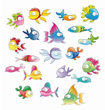 piranha fish - Family of fish, cartoon vector characters Stock Photo - Budget Royalty-Free & Subscription, Code: 400-04132464