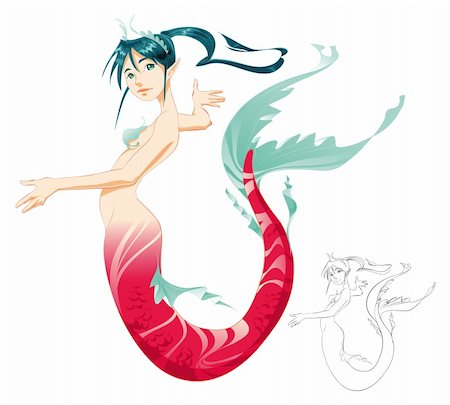 Mermaid (color and Black/White lines) - cartoon and vector mythologycal character Stock Photo - Budget Royalty-Free & Subscription, Code: 400-04132484