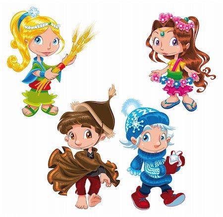 Season - Cartoon and vector characters Stock Photo - Budget Royalty-Free & Subscription, Code: 400-04132483