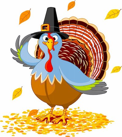 Illustration of a Thanksgiving turkey with pilgrim hat Stock Photo - Budget Royalty-Free & Subscription, Code: 400-04133454