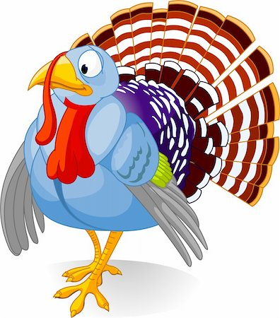 Cartoon turkey strutting with plumage, isolated on white background Stock Photo - Budget Royalty-Free & Subscription, Code: 400-04144878