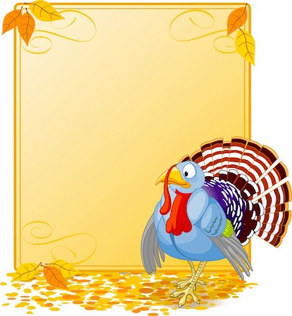 Cartoon turkey strutting with plumage. Elements are layered for easy editing.  Great for invitations, announcements, place cards, etc. Stock Photo - Budget Royalty-Free & Subscription, Code: 400-04145210